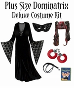 SALE! Plus Size Dominatrix Costume + Accessory Kit! Black Mask, Fingernails, Handcuffs and Leather Whip Plus Size & Supersize Halloween Costumes Lg XL 0x 1x 2x 3x 4x 5x 6x 7x 8x 9x