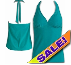 SALE! Plus Size Halter Tankini Swimsuit Top Solid Green 2x