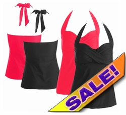 SALE! Plus Size Halter Tankini Top Solid Black or Hot Hot Salmon Pink 3x