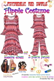 SALE! Plus Size Hippie Costume Psychedelic Red Swirl Print - 60's Style Retro Top & Bell-Bottom Pant Set Plus Size & Supersize Hippie Halloween Costume Kit 1x 2x 5x