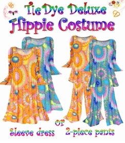 Plus Size Hippie Costume Tie Dye Print - 60's Style Retro Moo-Moo Dress or Top & Bell-Bottom Pant Set Plus Size & Supersize Hippie Halloween Costume 0x 1x 2x 3x 4x