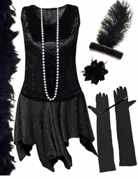 CLEARANCE! Plus Size  Roaring 20's Black Flapper Costume Plus Size & Supersize 0x 2x 4x 6x 7x 8x