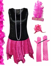 CLEARANCE! Plus Size Roaring 20's Black & Pink Flapper Halloween Costume - Plus Size & Supersize Lg 2x 3x 5x 8x