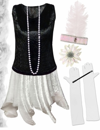 CLEARANCE! Plus Size Roaring 20's Black & White Flapper Costume -  Plus Size & Supersize 1x 4x 7x