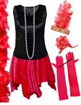 CLEARANCE! Plus Size Roaring 20's Flapper Costume Black & Red Halloween Costume Kit Plus Size & Supersize 4x 9x