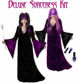 Sale! Plus Size Sorceress Costume Plus Size & Supersize Black & Purple Sorceress Costume + Accessory Kit! Lg XL 0x 1x 2x 3x 4x 5x 6x 7x 8x 9x SALE!