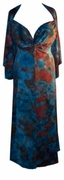 SALE! Plus Size & Supersize 2 Piece Princess Seam Dress Set: Turquoise & Rust TieDye 4x