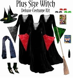 SALE! Plus Size Supersize Witch Costume Black, Red, Purple or Green - And Accessories! 2xT 3x 4x 5x 6xT