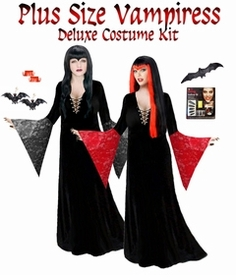 Sale! Plus Size Vampiress Morticia Costume Plus Size Vamp Vampire Vampiress Costume / Accessory Kit! in all  Plus Size & Supersizes Lg XL 0x 1x 2x 3x 4x 5x 6x 7x 8x 9x