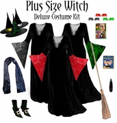 Sale! Plus Size Witch Costume Black, Red or Green - And Accessories!  Available in Plus Size & Supersize Lg to 9x