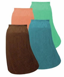SALE! Solid Color Cotton Full Length Skirts -6X- Blue - Green - Peach - Brown