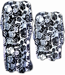 SALE! Pretty Black & White Floral Poly/Satin Plus Size & Supersize Caftan Dress or Shirt 1x to 6x