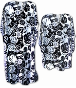 FINAL SALE! Pretty Black & White Floral Poly/Satin Plus Size & Supersize Caftan Dress or Shirt 1x to 6x
