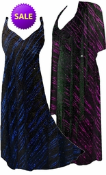 SALE! 2-Piece Pretty Fuchsia or Blue Streaks Glittery Slinky Plus Size & SuperSize Princess Seam Dress Set 1x 4x 5x