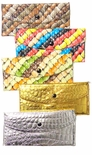 SALE! Pretty Glossy Embossed Colorful Candy Print or Shiny Metallic Gold or Silver Wallets