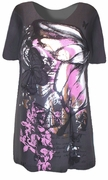 SALE! Just Reduced!  Pretty Gray & Pink Butterfly Glittery Plus Size T-Shirts 1X