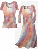 SALE! Pretty Peach & Light Blue Tye Dye Colorful Print Slinky Plus Size & Supersize Dresses & Shirts 0x 2x