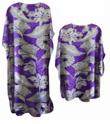SALE! Pretty Purple Floral Print Poly/Satin Plus Size & Supersize Caftan Dress or Shirt 1x to 6x