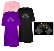 SALE! Pretty Rainbow With Heart Clouds Sparkly Rhinestuds Plus Size & Supersize T-Shirts 6xl