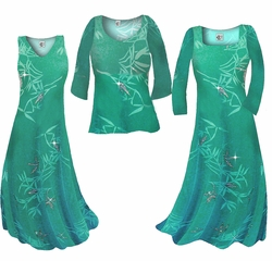SALE! Pretty Teal & Silver Sparkly Bamboo Print Slinky Plus Size Standard & Cascading Dresses & Shirts 0x 1x 2x