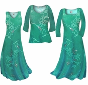 SOLD OUT! CLEARANCE! Pretty Teal & Silver Sparkly Bamboo Print Slinky Plus Size Standard & Cascading Dresses & Shirts 0x