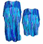 SOLD OUT! FINAL SALE! Pretty Blue Stripes Poly/Satin Plus Size & Supersize Caftan Dress or Shirt 1x to 6x