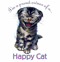SOLD OUT! Proud Owner of a Happy Cat Plus Size & Supersize T-Shirts S M L XL 2x 3x 4x 5x 6x 7x 8x (Lights Only)