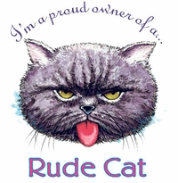 SALE! Proud Owner of a Rude Cat Plus Size & Supersize T-Shirts S M L XL 2x 3x 4x 5x 6x 7x 8x (Lights Only)