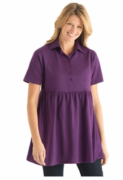 SALE! Purple A-Line Plus Size Short Sleeve Tunic Top With Shirring 2x