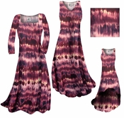 SOLD OUT! SALE! Purple & Cream Tye Dye Slinky Print Plus Size & Supersize A-Line Dresses 3x