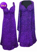 SALE! Purple Glittery Leopard Slinky Print 2 Piece Plus Size SuperSize Princess Seam Dress Set 2x