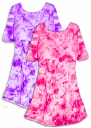 SALE! Purple or Hot Pink Colorful Tie Dye Plus Size & Supersize X-Long T-Shirt 1x 2x 3x 4x 5x 6x 8x