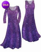 SALE! Purple Paisley Glitter Slinky Print Plus Size & Supersize Standard, Cascading A-Line or Princess Cut Dresses Tops 0x 3x