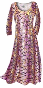 CLEARANCE! Purple With Gold Metallic Slinky Plus Size Supersize Dress 1x
