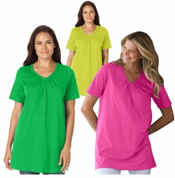 SALE! Raspberry or Green Cotton V-Neck Plus Size Top With Shirring 4x 6x