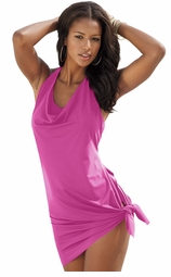 SALE! Raspberry Sarong-Style Convertible Plus Size Swimdress 3x 4x