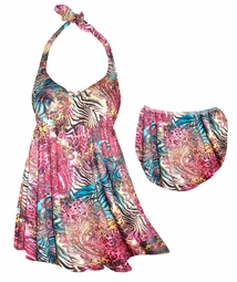 SALE! Red & Blue Animal Skin Paisley Print Plus Size Halter SwimDress Swimwear or Shoulder Strap 2pc Swimsuit 0x