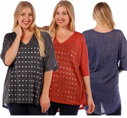 SALE! Red, Royal Blue, or Black Studded Plus Size Lurex Top 4x 5x 6x