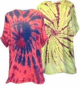 CLEARANCE! Green, Red or Yellow Swirl Tie Dye Plus Size T-Shirts 4xl 5xl 6xl