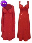 SALE! Red w/Red Hearts Glitter Slinky 2 Piece Plus Size SuperSize Princess Seam Dress Set 1x 3x