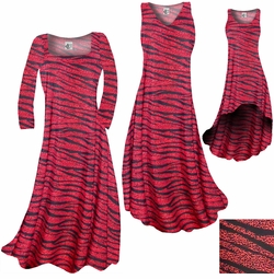 SALE! Red With Black Zebra Stripes With Dots Slinky Print Plus Size & Supersize A-Line Dresses & Skirts 3x 7x