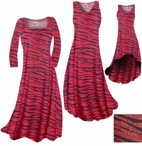 SOLD OUT! SALE! Red With Black Zebra Stripes With Dots Slinky Print Plus Size A-Line Dresses 2x