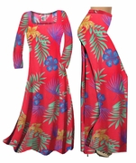 FINAL SALE! Red With Blue Tropical Flowers Print Slinky Plus Size & Supersize Dresses 0x 2x