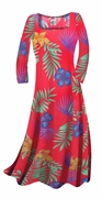 FINAL SALE! Red With Blue Tropical Flowers Print Slinky Plus Size & Supersize Dresses 0x