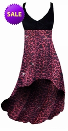 SALE! Red With Hot Pink Glittery Leopard Slinky Glimmer Slinky Plus Size Customize Hi-Low Empire Waist Dresess 4x - add Matching Wrap