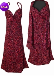 SALE! Red With Hot Pink Glittery Leopard Slinky Print 2 Piece Plus Size SuperSize Princess Seam Dress Set 3x