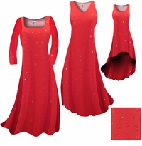 CLEARANCE! Red With Red Hearts Glitter Slinky Print Plus Size & Supersize Princess Cut Shirts 1x