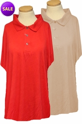 SALE! Red Ribbed Lines Polo Button Collar Short Sleeve Plus Size Top 6XL