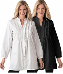 SALE! White or Black Ruffled and Pleated Plus Size Front Blouse 3x 4x