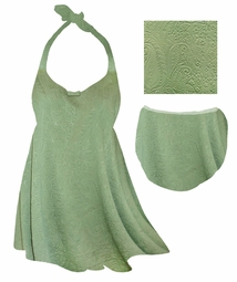 SALE! Sage Green Embossed Paisley Print Plus Size Shoulder Strap 2pc Swimsuit 0x